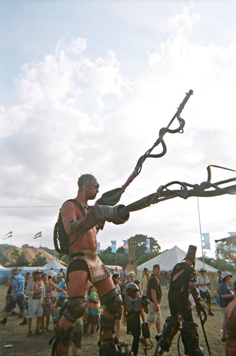 Stilt walker at Glastonbury