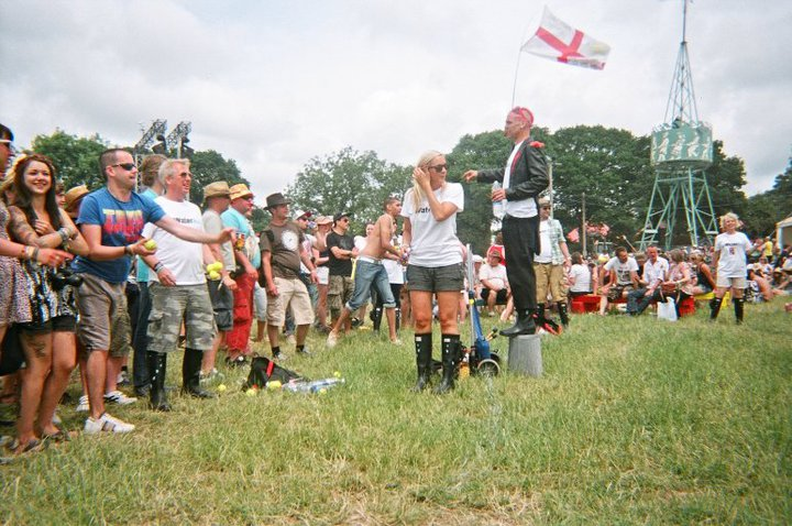 Welly-wanging and ball throwing at Glastonbury