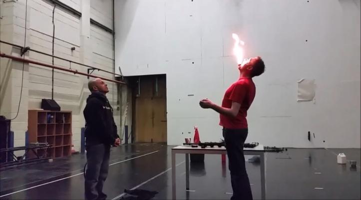 Fire eating at Aircraft Circus