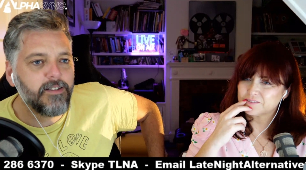 The Late Night Alternative on Twitch is hosted by Iain Lee and Katherine Boyle
