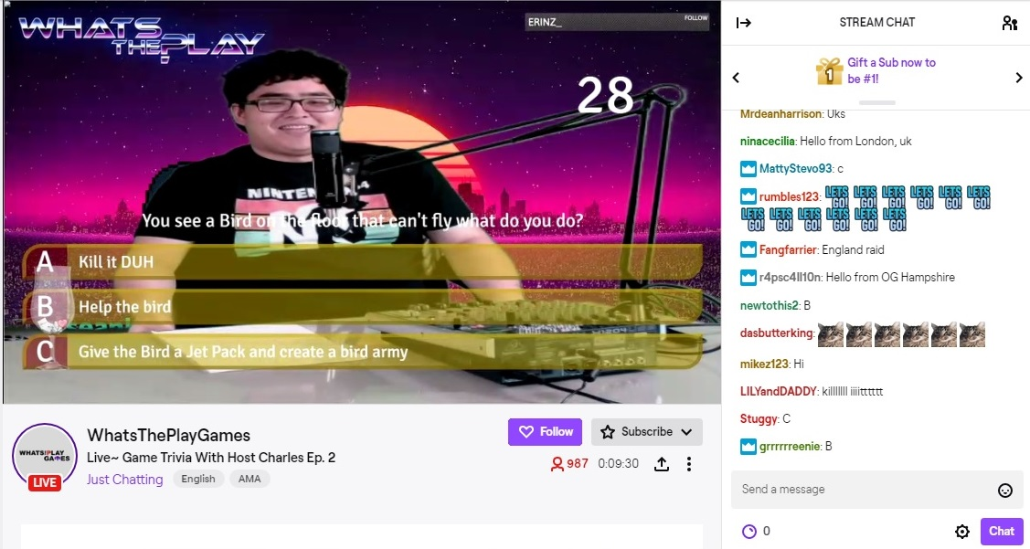 What's The Play screenshot from Twitch