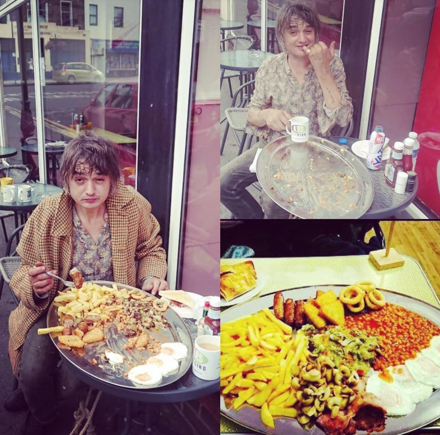 Pete Doherty and his breakfast - Pictures from the Dalby Cafe Facebook page
