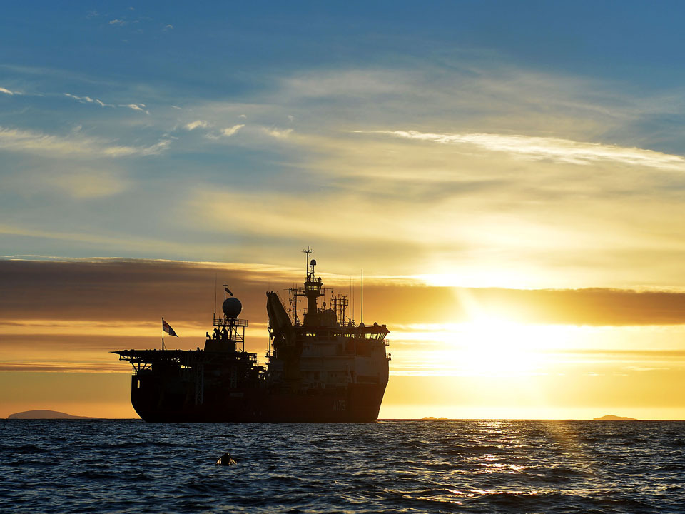 HMS Protector at Sunset in Antarctica
