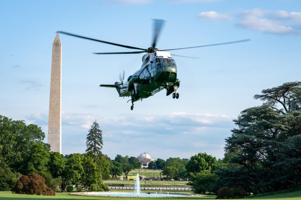 Donald Trump in Marine One