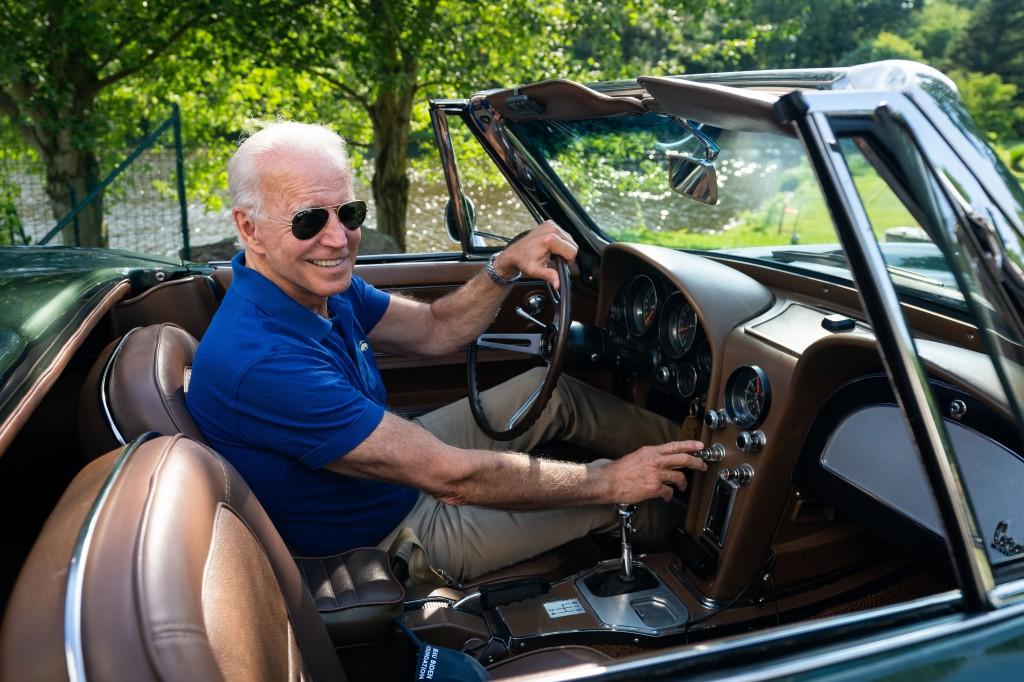 Joe Biden in a car