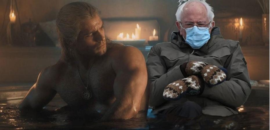 Geralt and the Senator Bernie in the Bath by @Hey_Davy