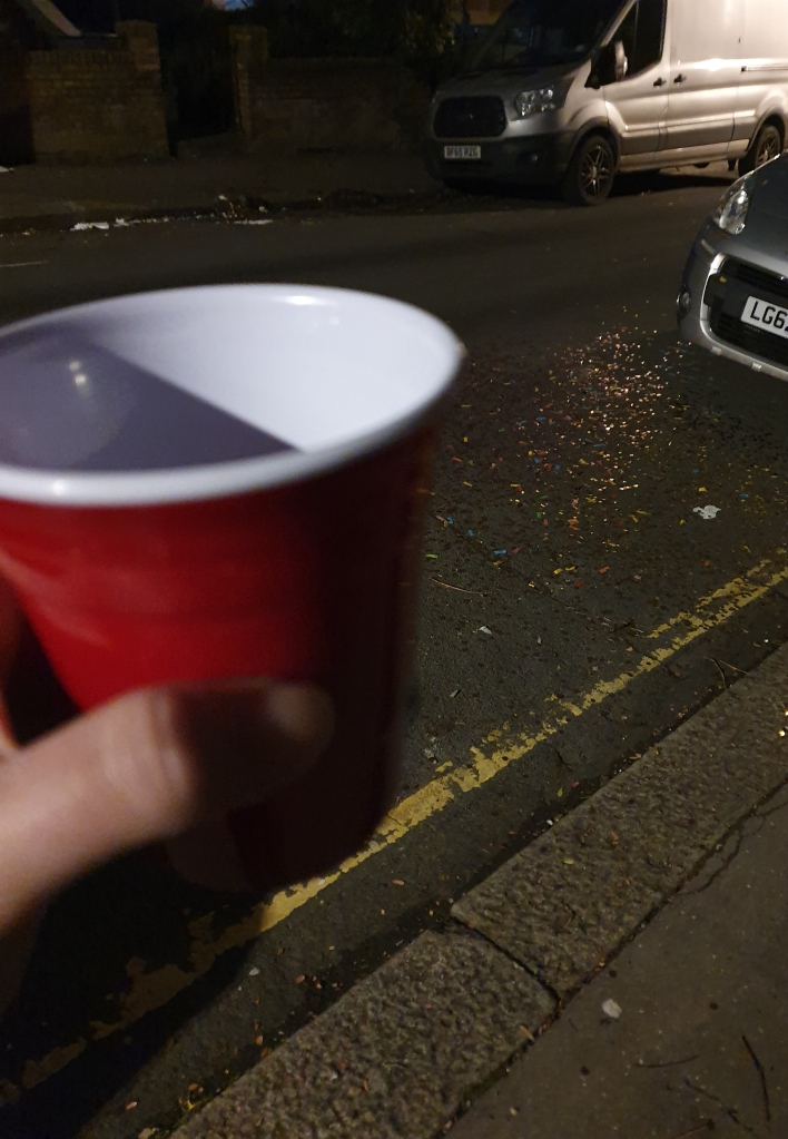 Red cup on New Year's Eve