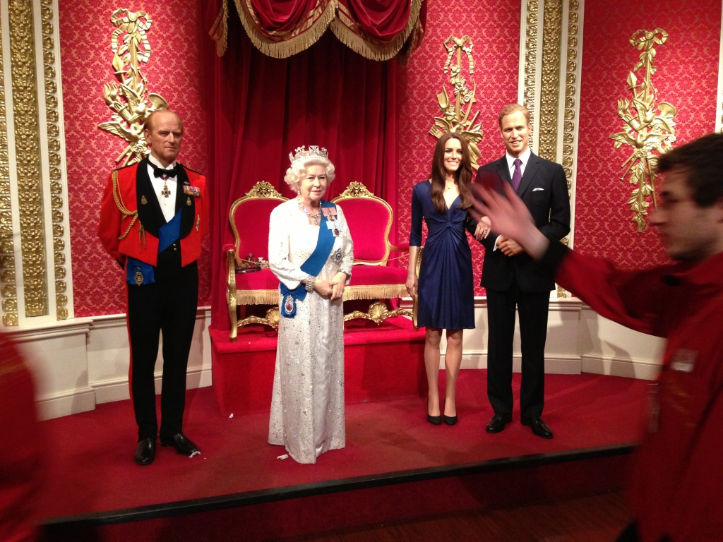 Royals figures (Prince Philip, Queen Elizabeth II, Princess Kate Middleton and Prince William) at Madame Tussauds London