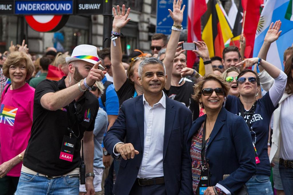 Sadiq Khan at Pride Parade in June 2016
