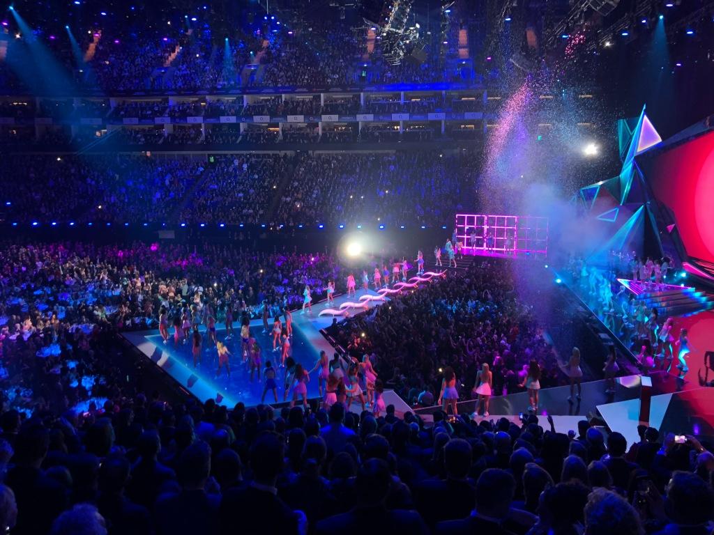 Dua Lipa performing at the Brit Awards in 2018