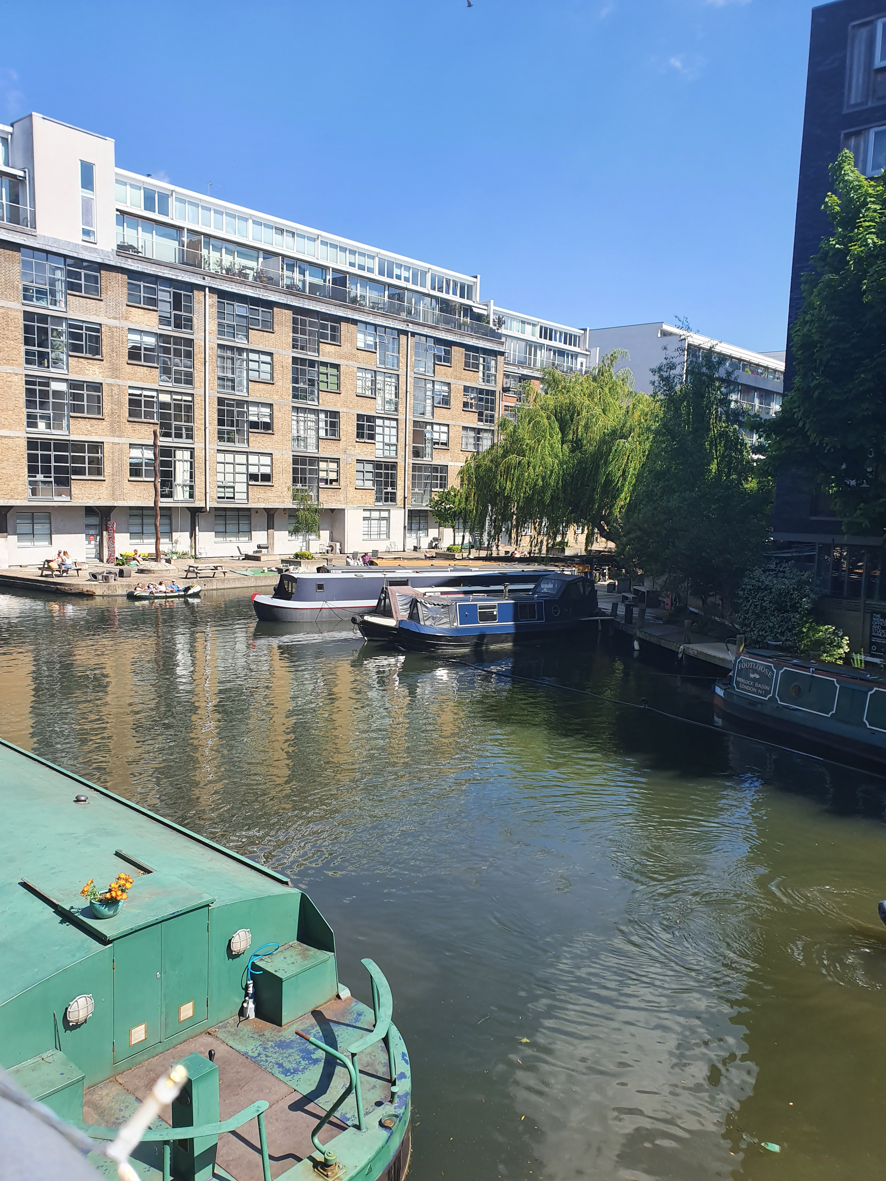 The view from the outside tables at the Narrowboat pub in Islington