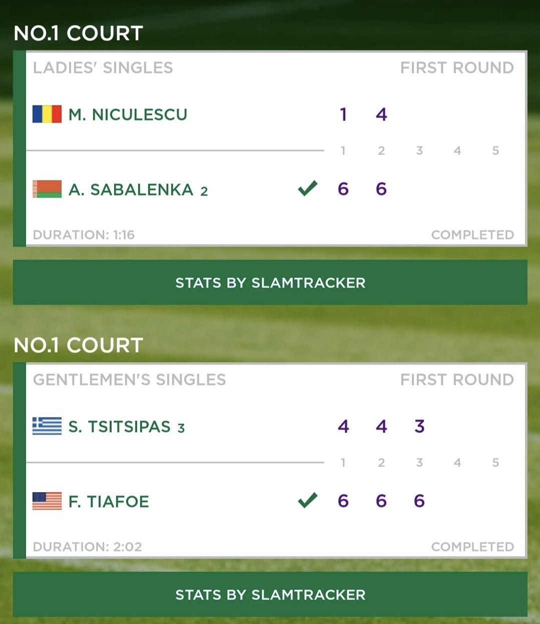 First two matches at No 1 Court