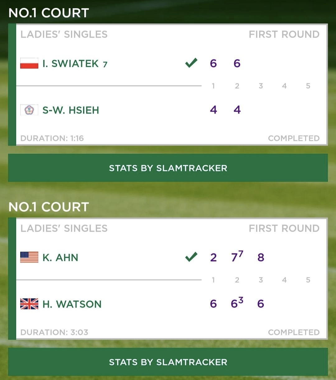 First day's play at Wimbledon at No. 1 Court
