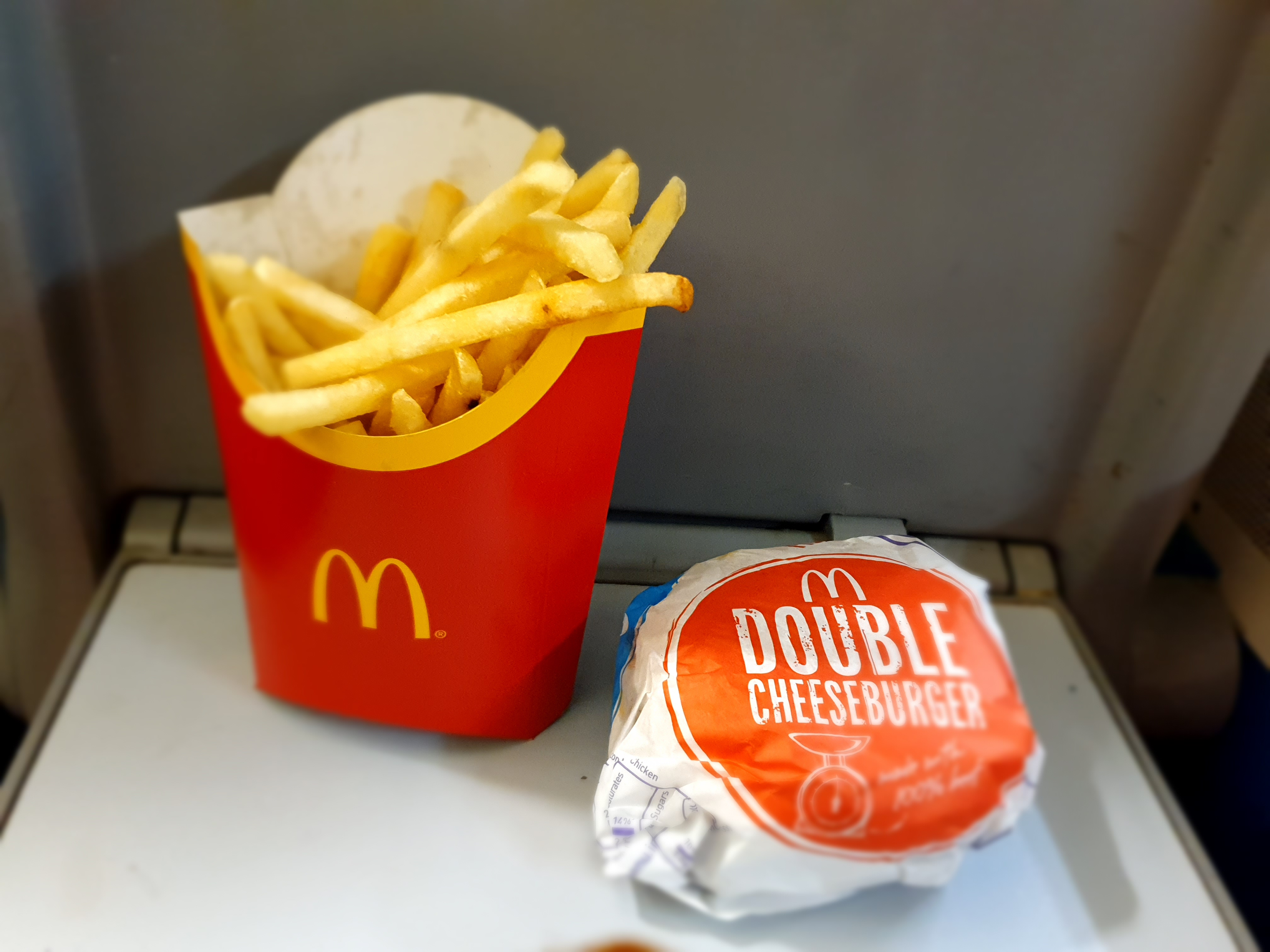 McDonald's fries and double cheeseburger